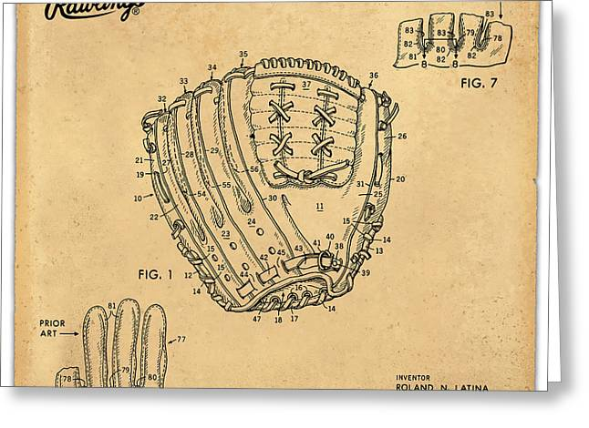 Balls Framed Prints Greeting Cards - 1971 Baseball Glove Patent Art Latina for Rawlings 1 Greeting Card by Nishanth Gopinathan