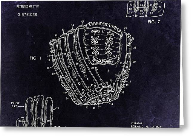 Baseball Glove Greeting Cards - 1971 Baseball Glove Patent Art Latina for Rawlings 3 Greeting Card by Nishanth Gopinathan