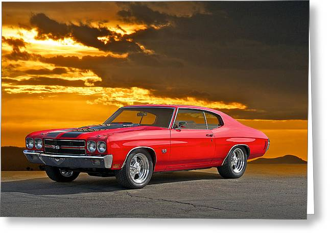 American Automobiles Greeting Cards - 1971 Chevelle SS454 Greeting Card by Dave Koontz
