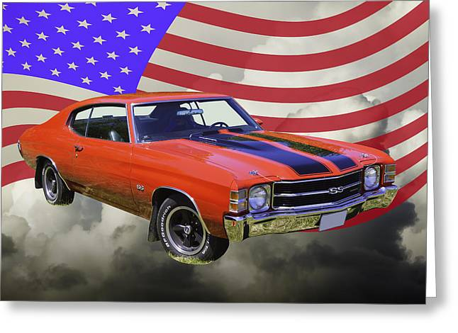Blue Classic Car Greeting Cards - 1971 chevrolet Chevelle SS And United States Flag Greeting Card by Keith Webber Jr