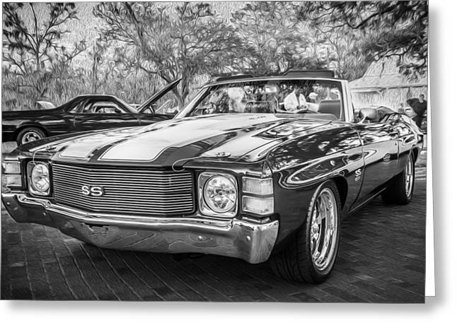 V8 Chevelle Greeting Cards - 1971 Chevrolet Chevelle SS LS1 Convertible BW Greeting Card by Rich Franco