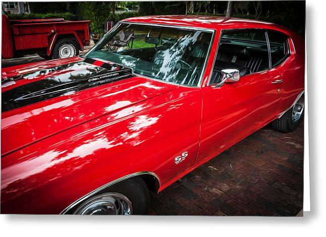 V8 Chevelle Greeting Cards - 1971 Chevy Chevelle 454 SS Painted     Greeting Card by Rich Franco