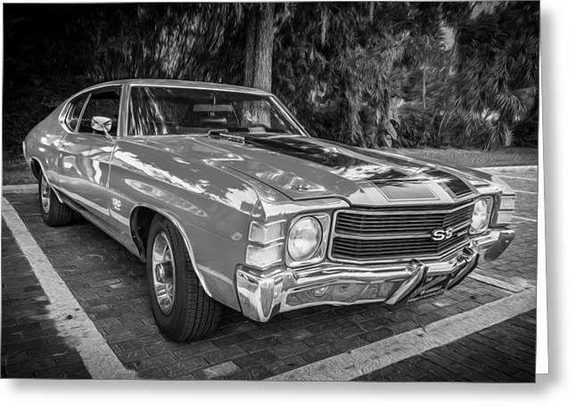 V8 Chevelle Greeting Cards - 1971 Chevy Chevelle 454 SS Painted BW    Greeting Card by Rich Franco