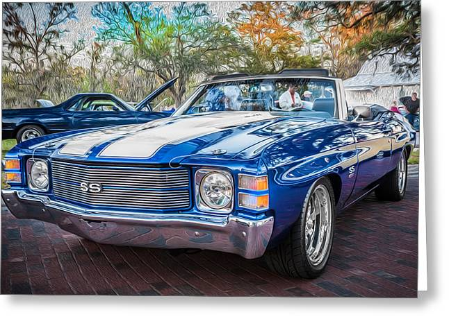 V8 Chevelle Greeting Cards - 1971 Chevy Chevelle SS Convertible LS1 Painted Greeting Card by Rich Franco