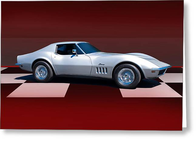 High-performance Luxury Car Greeting Cards - 1971 Corvette Checker Board Greeting Card by Dave Koontz