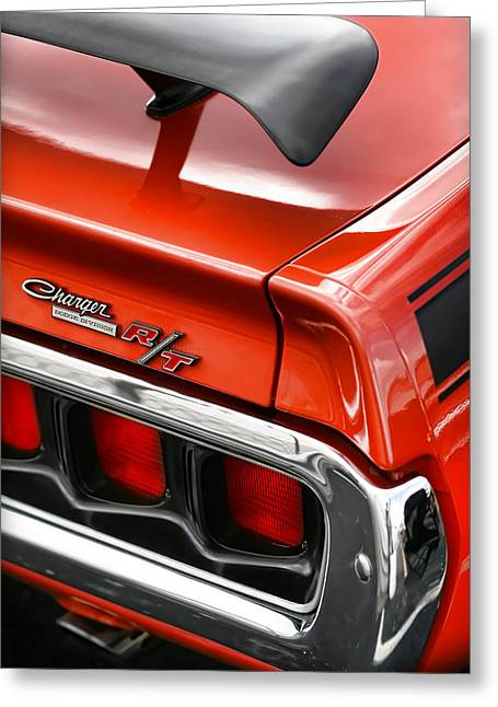 Dodge Super Bee Emblem Greeting Cards - 1971 Dodge Charger R/T Greeting Card by Gordon Dean II