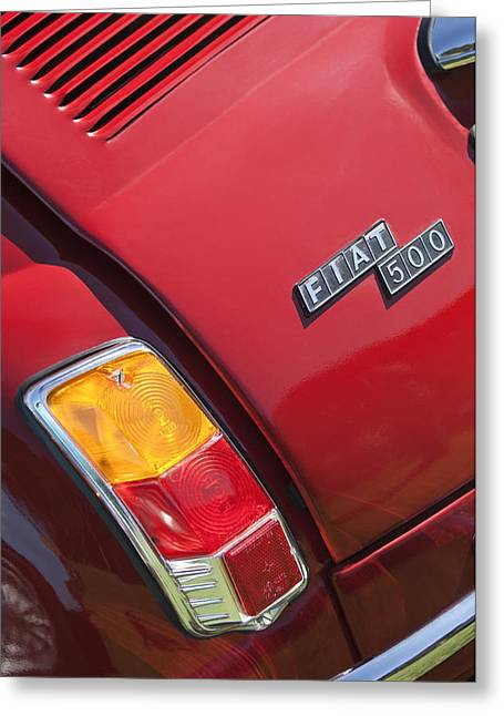 Pebble Beach Car Show Greeting Cards - 1971 Fiat 500 Jolly Taillight Greeting Card by Jill Reger