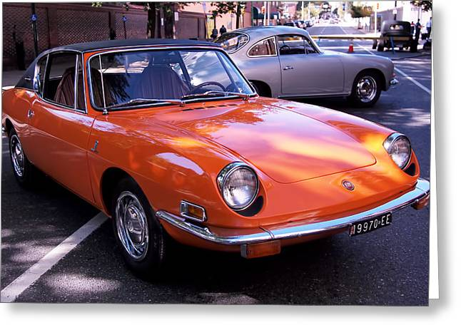 Automobile Photographs Greeting Cards - 1971 Fiat 850 Spider by Bertone Greeting Card by Rona Black