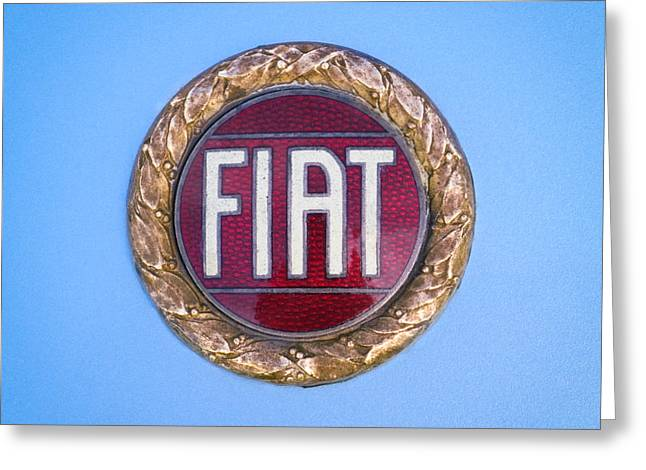 Famous Photographers Greeting Cards - 1971 Fiat Dino 2.4 Emblem Greeting Card by Jill Reger
