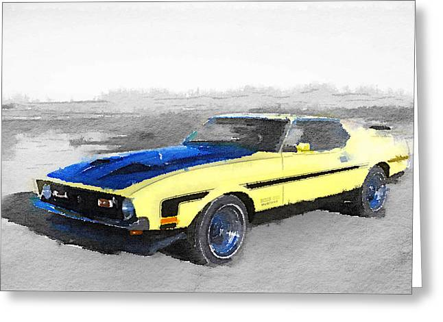 1971 Ford Mustang Boss Watercolor Greeting Card by Naxart Studio