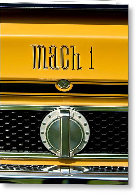1971 Greeting Cards - 1971 Ford Mustang Mach 1 Emblem -0483c Greeting Card by Jill Reger