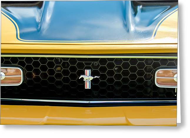 Famous Photographers Greeting Cards - 1971 Ford Mustang Mach 1 Front End Greeting Card by Jill Reger