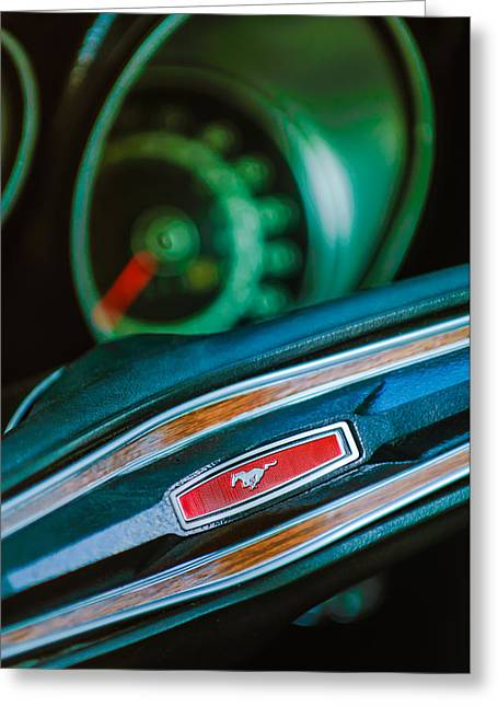 1971 Greeting Cards - 1971 Ford Mustang Mach 1 Steering Wheel Emblem Greeting Card by Jill Reger