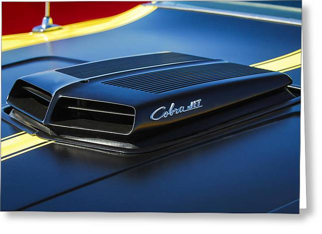 Torino Greeting Cards - 1971 Ford Torino GT Cobra Jet Emblem Greeting Card by Jill Reger