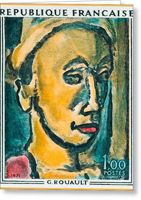 Vintage Painter Greeting Cards - 1971 G. Rouault Greeting Card by Lanjee Chee