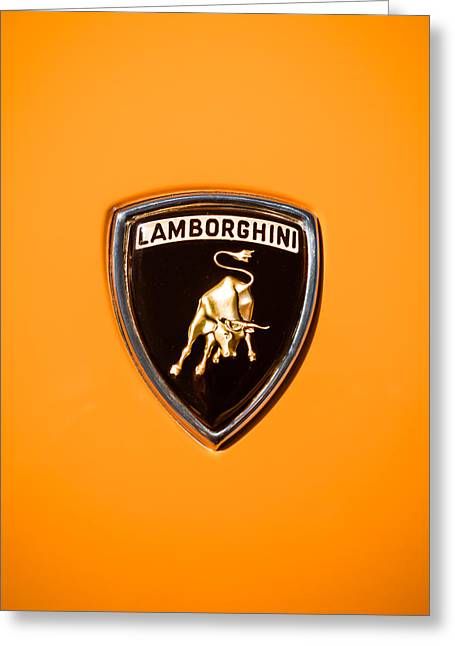 Famous Photographer Greeting Cards - 1971 Lamborghini Miura SV Emblem -0376c45 Greeting Card by Jill Reger
