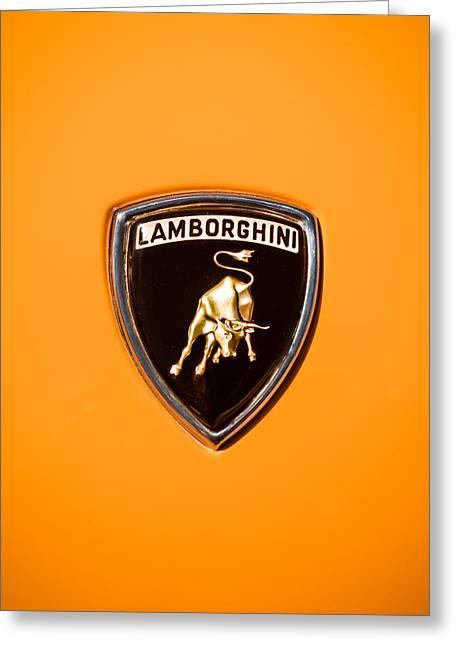 Sports Photo Print Greeting Cards - 1971 Lamborghini Miura SV Emblem -0376c45 Greeting Card by Jill Reger