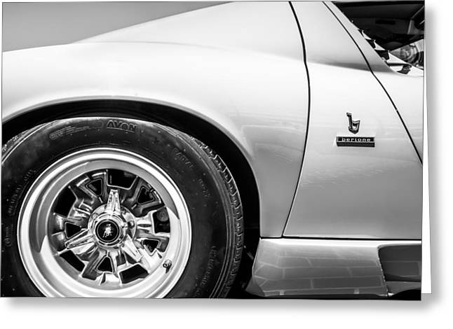 Famous Photographer Greeting Cards - 1971 Lamborghini Miura SV Wheel Emblem -0390bw Greeting Card by Jill Reger