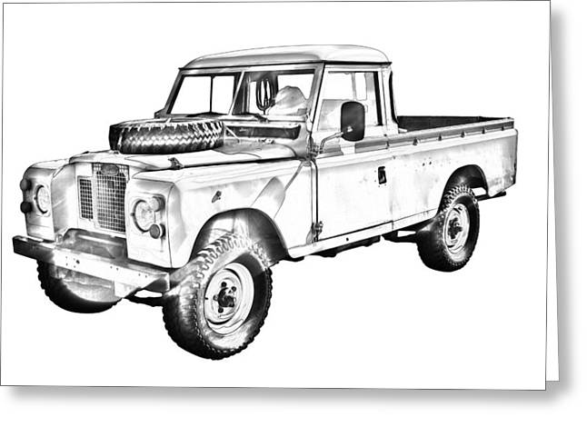 Utilities Greeting Cards - 1971 Land Rover Pick up Truck Drawing Greeting Card by Keith Webber Jr
