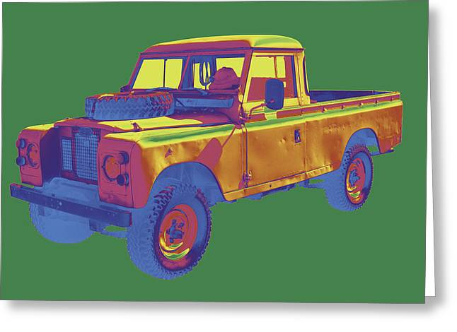 Rover Greeting Cards - 1971 Land Rover Pick up Truck Pop Art Greeting Card by Keith Webber Jr