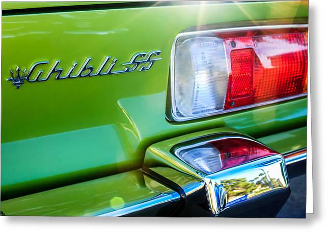Famous Photographers Greeting Cards - 1971 Maserati Ghibli 4.9 SS Spyder Taillight Emblem -0187c Greeting Card by Jill Reger