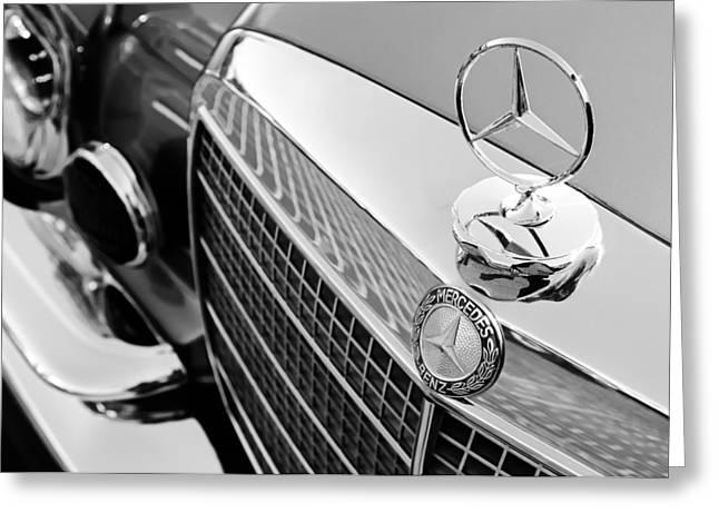 1971 Mercedes-benz 280se 3.5 Cabriolet Hood Ornament - Grille Emblem Greeting Card by Jill Reger