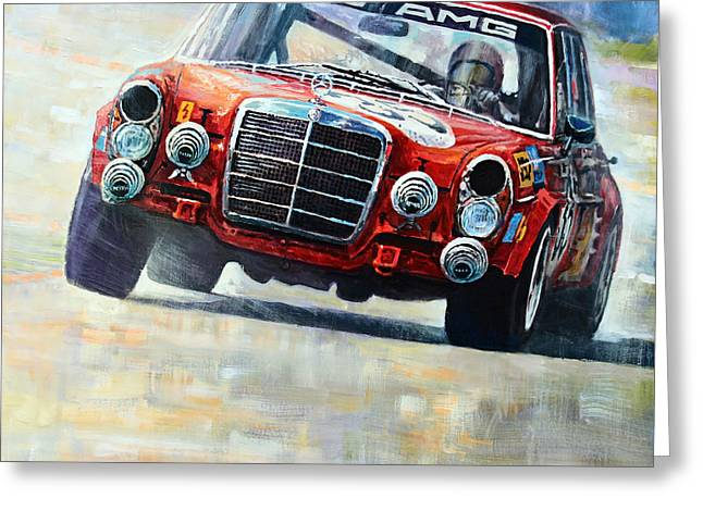 Mercedes Benz. Greeting Cards - 1971 Mercedes-Benz AMG 300SEL Greeting Card by Yuriy Shevchuk