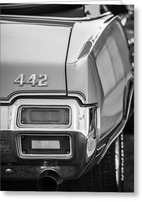 1971 Oldsmobile 442 Convertible Taillight Emblem -1683bw Greeting Card by Jill Reger