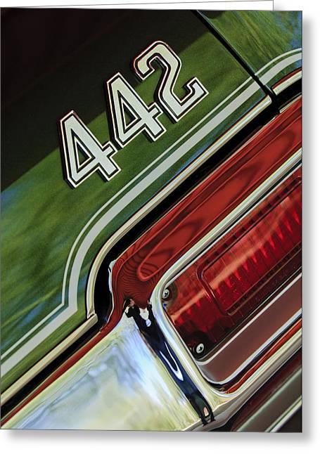 Oldsmobile Greeting Cards - 1971 Oldsmobile 442 Taillight Emblem Greeting Card by Jill Reger