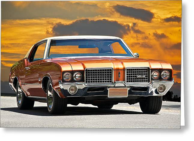 Injection Greeting Cards - 1971 Oldsmobile Cutlass Greeting Card by Dave Koontz