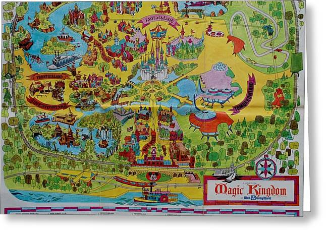 Recently Sold -  - Popular Art Greeting Cards - 1971 Original Map Of The Magic Kingdom Greeting Card by Rob Hans