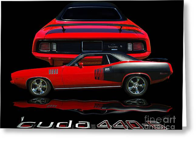 E Black Greeting Cards - 1971 Plymouth Cuda 440 Six Pack    Greeting Card by Peter Piatt
