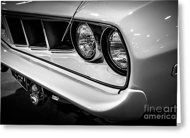 Mopar Greeting Cards - 1971 Plymouth Cuda Black and White Picture Greeting Card by Paul Velgos