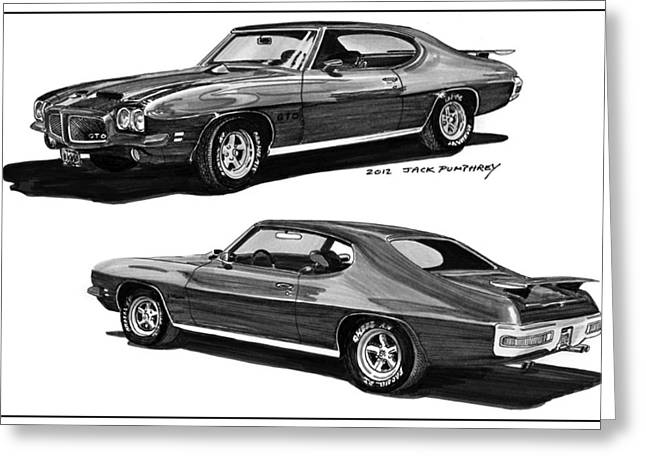 Stretching Drawings Greeting Cards - 1971 Pontiac GTO Coming and Goin Greeting Card by Jack Pumphrey