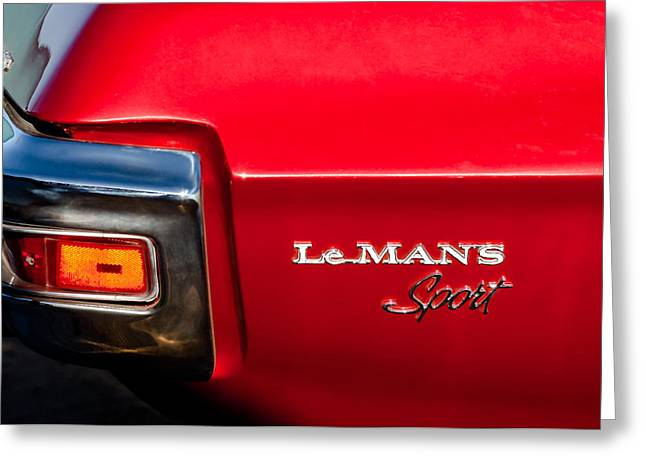 1971 Greeting Cards - 1971 Pontiac LeMans Sport Taillight Emblem Greeting Card by Jill Reger