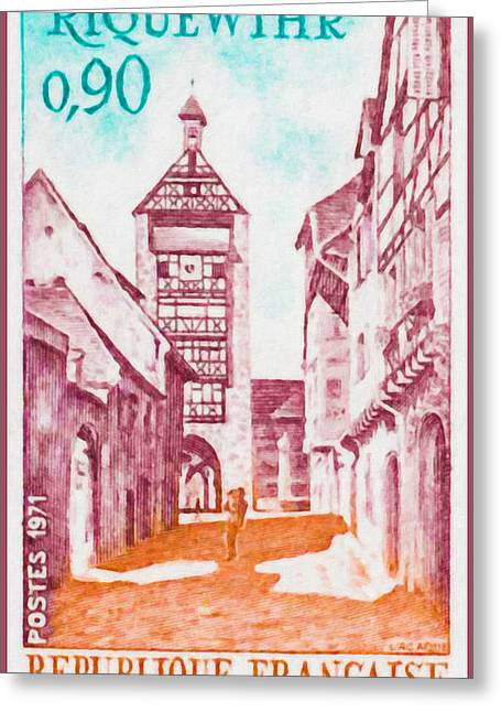 Haut Paintings Greeting Cards - 1971 Riquewihr Greeting Card by Lanjee Chee