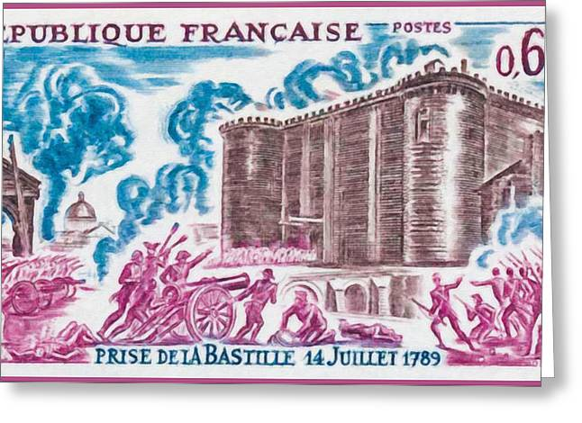 Bastille Greeting Cards - 1971 TAKING THE BASTILLE 14 July 1789 Greeting Card by Lanjee Chee