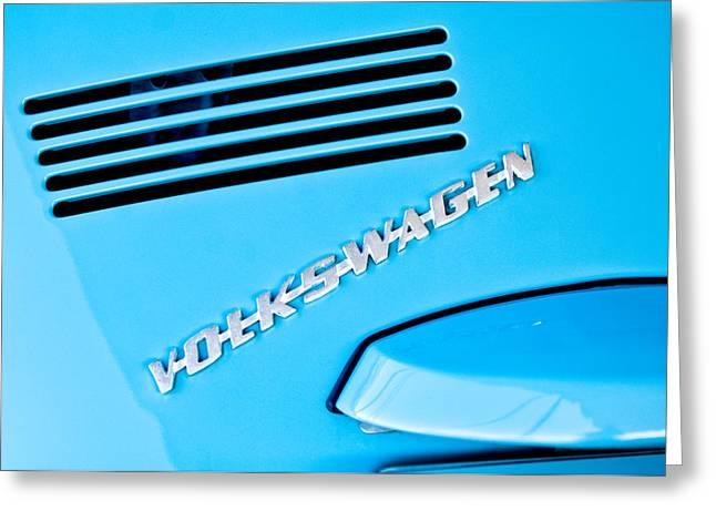 Vw Beetle Greeting Cards - 1971 Volkswagen VW Beetle Emblem Greeting Card by Jill Reger