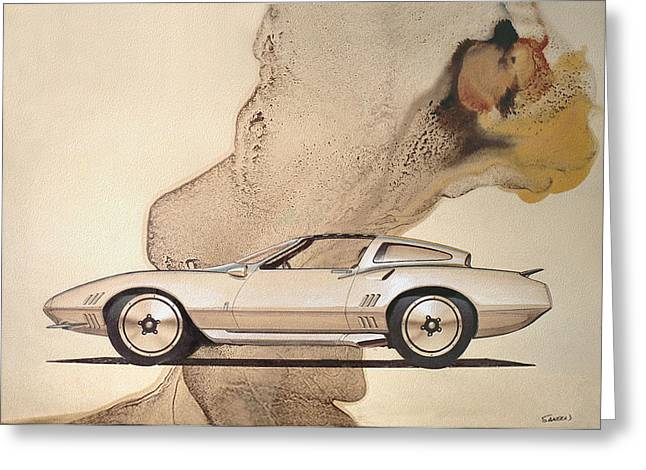 Automotive History Greeting Cards - 1972 BARRACUDA  A  Cuda Plymouth vintage styling design concept rendering sketch Greeting Card by John Samsen