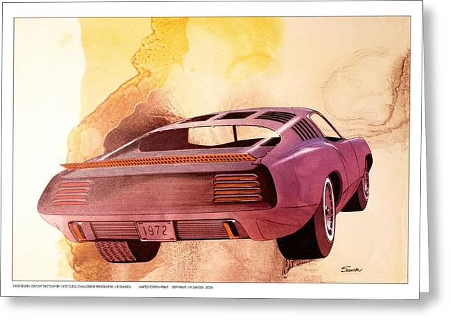 Automotive History Greeting Cards - 1972 BARRACUDA  B Cuda  Plymouth vintage styling design concept rendering Greeting Card by John Samsen