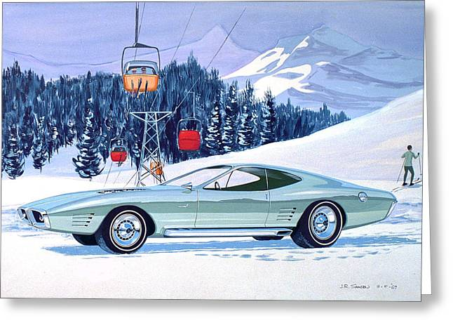 Virgil Greeting Cards - 1972 BARRACUDA Cuda Plymouth  vintage styling design concept rendering SK Greeting Card by John Samsen