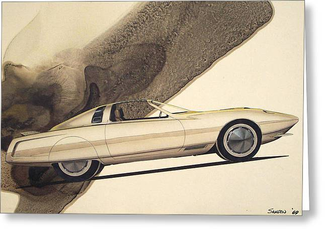Automotive History Greeting Cards - 1972 BARRACUDA  Cuda Plymouth vintage styling design concept rendering sketch Greeting Card by John Samsen