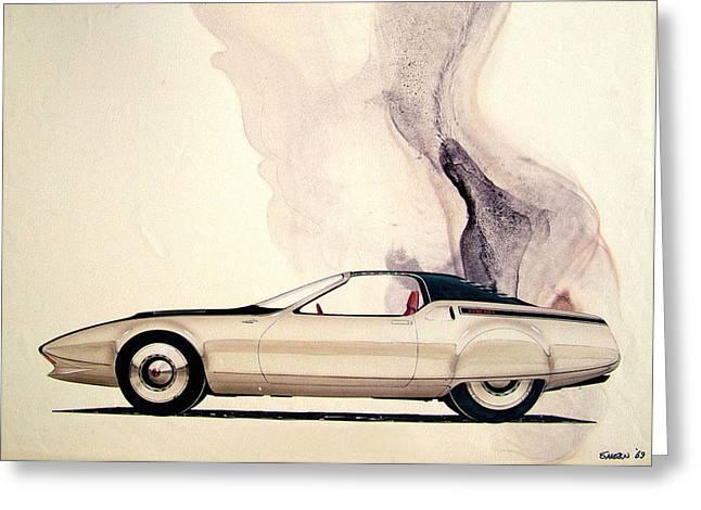 Automotive History Greeting Cards - 1972 BARRACUDA  Cuda Plymouth vintage styling design concept sketch C69B Greeting Card by John Samsen