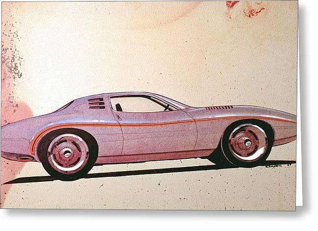 Automotive History Greeting Cards - 1972 BARRACUDA  J Cuda vintage styling design concept sketch Greeting Card by John Samsen