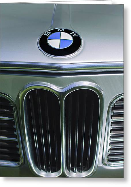 Touring Greeting Cards - 1972 BMW 2000 TII Touring Grille Emblem Greeting Card by Jill Reger