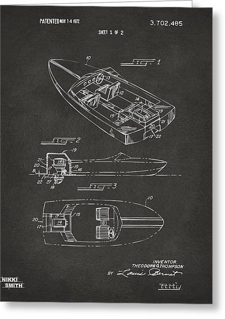 Boat Greeting Cards - 1972 Chris Craft Boat Patent Artwork - Gray Greeting Card by Nikki Marie Smith