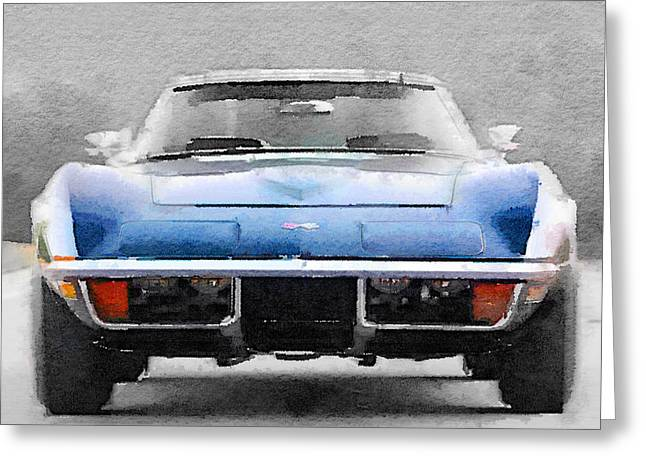 1972 Corvette Front End Watercolor Greeting Card by Naxart Studio