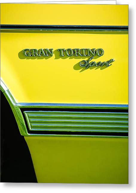 Torino Greeting Cards - 1972 Ford Gran Torino Sport Emblem Greeting Card by Jill Reger
