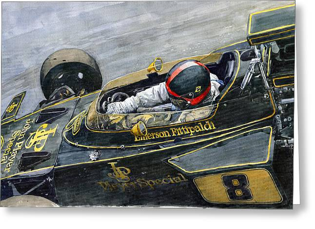 Watercolor Paper Greeting Cards - 1972 Monaco GP Emerson Fittipaldi Lotus72 D Greeting Card by Yuriy Shevchuk