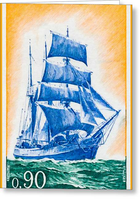 Sailboat Images Paintings Greeting Cards - 1972 Newfoundland Neuvas Emerald Coast Greeting Card by Lanjee Chee